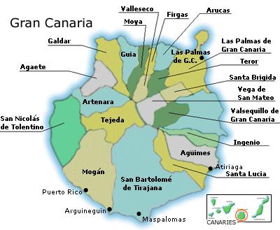 Mapa Municipios Gran Canaria.Blume Gran Canaria Teilnehmer Gran Canaria
